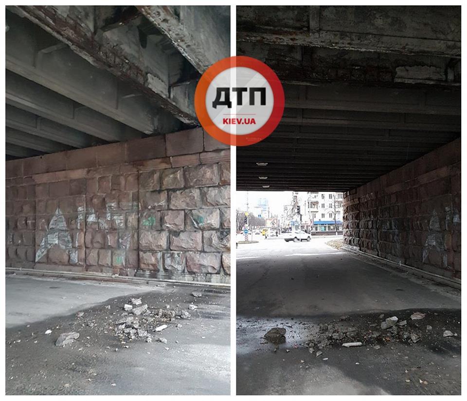 «Киевавтодор»: Бетон наВоздухофлотском мосту скалывают врамках работ пореконструкции