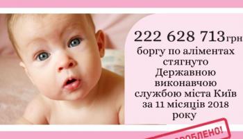 С начала года в Киеве было взыскано 222 млн гривен задолженности по алиментам