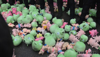 """Летающие свиньи на Банковой: протест против коррупции в """"Укроборонпроме"""" глазами КиевVласти (фото, видео)"""